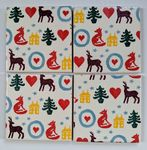 4 Ceramic Coasters in Emma Bridgewater Christmas Brights
